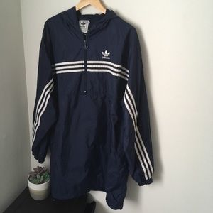 Vintage navy blue and white adidas windbreaker